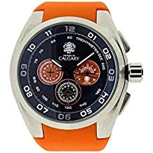 Relojes Calgary Oakland Mountain. Reloj Deportivo para Hombre, Correa Naranja, Esfera Color Azul