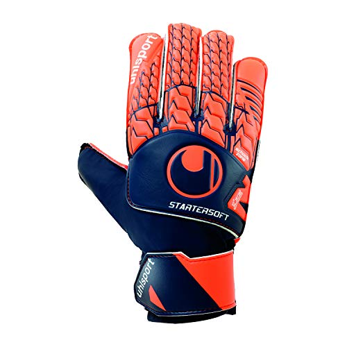 uhlsport Next Level Starter Soft Torwart-Handschuhe, Marine/Fluo rot, 5