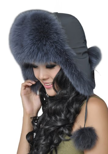 URSFUR Warm Winter Autumn Knitted Genuine Fox Fur Russian Ushanka