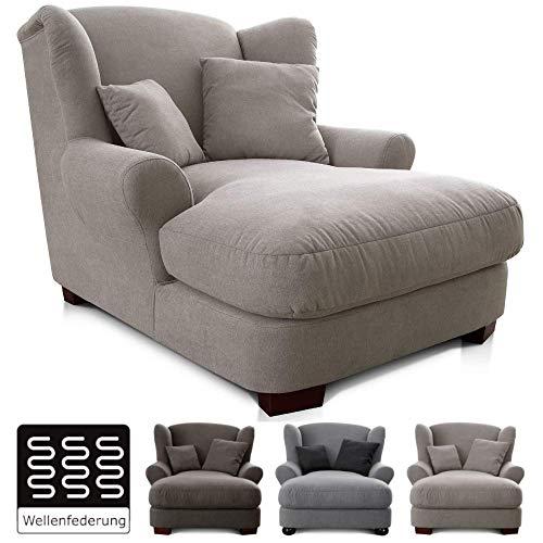 CAVADORE XXL-Sessel Oasis / Großer Polstersessel im modernen Design / Inkl. 2 schöne Zierkissen / 120 x 99 x 145 / Beige