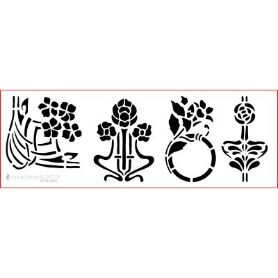 graphits Schablone Shabby Chic Kreativbaukasten, 01-001-0035, Blumen Jugendstil als Wandschablone,...