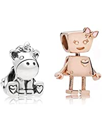 Marni's – Set de 2 Abalorios, 1 de Unicornio y 1 de Robot Color Oro Rosa - Cuentas para Pulseras y Collares Estilo Europeo. Regalo de cumpleaños, San Valentín o Aniversario para niñas y Mujeres