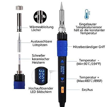 Kit del Soldador, LYLIN 65W 220V Soldador Electrónica de Estaño, 90-480℃ Temperatura Ajustable, con pantalla LED, ON/OFF Interruptor, 5pcs Puntas diferentes, Alambre de Soldadura, ect (13 en 1)