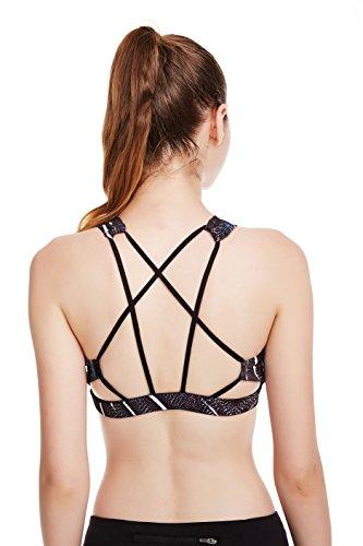 icyZone® Brassiere de Sport Push Up Rembourre Sans Armature Underwear Bra Yoga Course Plunge Support Dos Plume