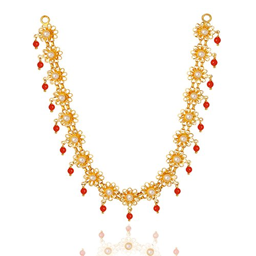 Lagu Bandhu 22KT Yellow Gold, Pearl and Coral Necklace for Women