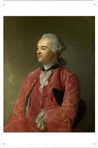 Oil Painting of Jean-Baptiste Perronneau - Jacques Cazotte de Enseignes affiche en metal 20*29cm by Wposter