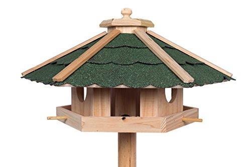 Edles Sechseckiges Vogelhaus 130022 mit Ständer Massivholz 115 cm hoch und mit Schindeldach gedeckt Futterkrippe Futterspender Futterhaus