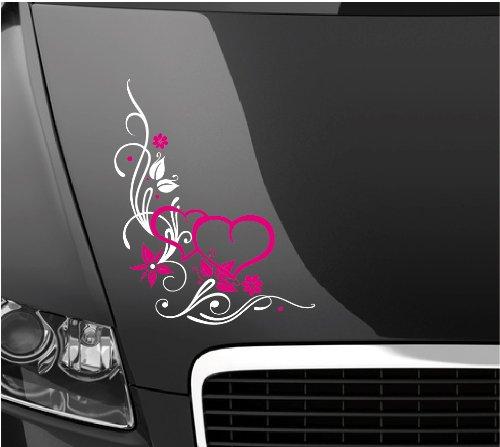 DD Dotzler Design 300314 Autoaufkleber Motorhaube Tuning Blumenranke Herzen weiß pink 38 x 47 cm