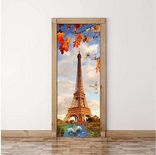 LYFCV Kreative DIY 3D Wand Tür Aufkleber Paris Turm Schwanensee Tapete Moderne Wohnzimmer Restaurant Wohnkultur Aufkleber 77x200 cm - Paris-wand-aufkleber