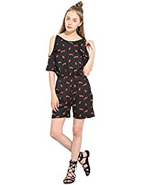 Lucero Black crepe cold shoulder casual jumpsuit / playsuit for women and girls