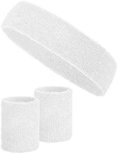 Balinco 3-teiliges Schweißband-Set mit 2X Schweißbändern für die Handgelenke + 1x Stirnband für Damen & Herren (Weiß)