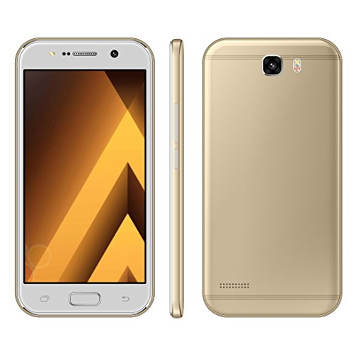 """Sim-Free Smartphone ,Unlocked 5.0"""" Android 6.0 Cell Phone ,3G/GSM Dual Sim , MTK6580 Quadcore 1GB RAM + 4GB ROM / GPS Beauty HD 5.0MP Camera Moblie Phone (Champagne Gold)"""