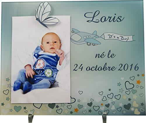 Cadre Photo Naissance - Cadeau de Naissance personnalisé avec le prénom du bébé - idéal pour la liste de naissance - pour fille ou garçon - Kd-K