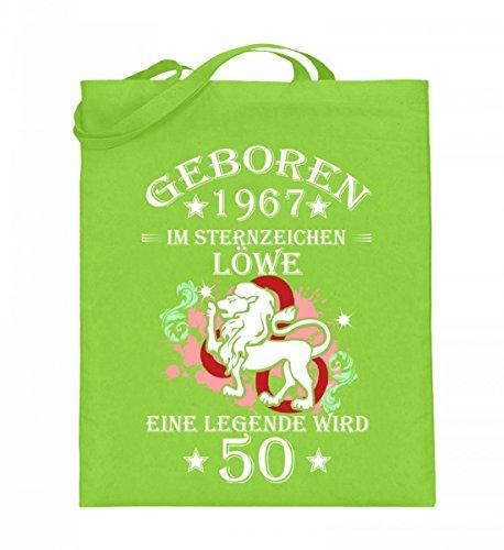 Hochwertiger Jutebeutel (mit langen Henkeln) - Sternzeichen Löwe wird 50 Lime Green