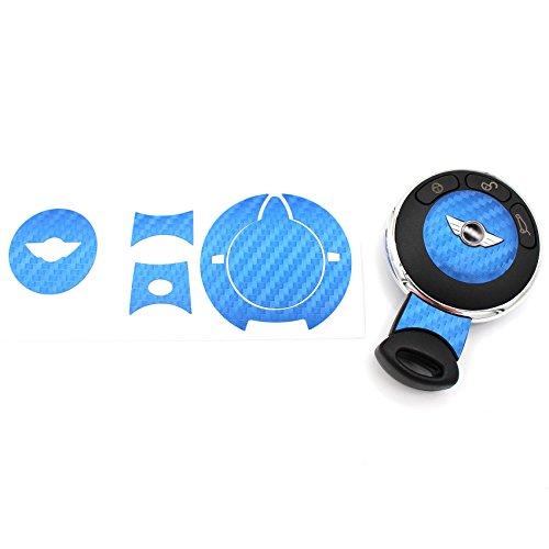Schlüssel Folie MIA für 3 Tasten Auto Schlüssel Cover Folien Dekor Aufkleber (Carbon Blau)