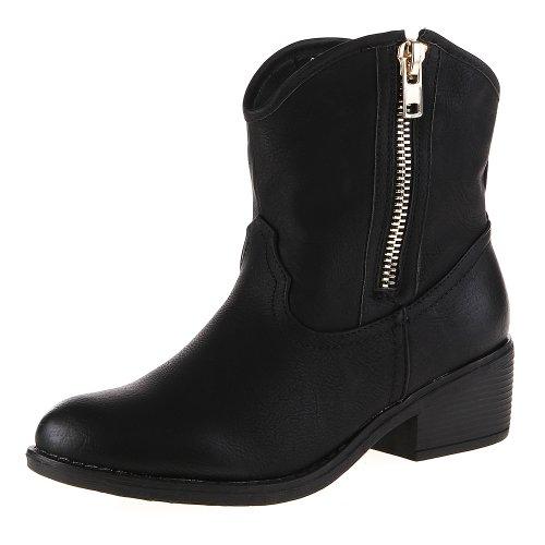 Damen Schuhe, S318-06, STIEFELETTEN Schwarz
