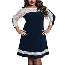 YOGLY Damen Herbstkleid Spitze nähende Langarm Kleider für Mollige Frauen Elegant Casual Kräftige Damen Abendkleid Freizeitkleider in Große Größe Gr.L-6XL