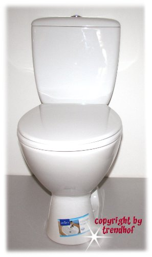 Preisvergleich Produktbild Stand WC Set Toilette bodenstehend Abgang senkrecht Spülkasten Keramik + WC Sitz