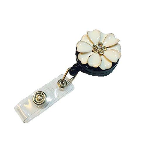 Bling Strass Beautiful Flower verziert Badge Reel ID Halter mit Clip Unterstützung Button Flower Cord