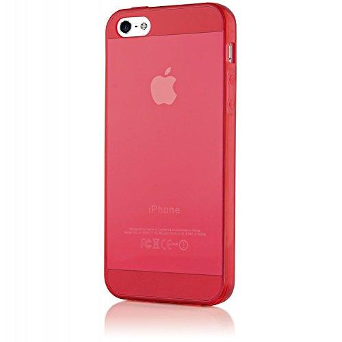 iPhone 5 5S SE Coque Silicone de NICA, Ultra-Fine Housse Protection Transparente Cover Slim Etui Résistante, Mince Telephone Portable Clear Gel Case Bumper Souple pour Apple iPhone SE 5S 5 - Bleu Rouge