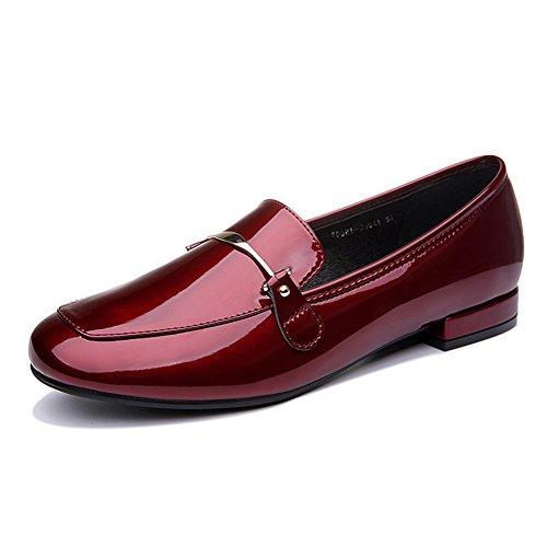 Damen Lackleder Geschlossen Pump Einfarbig Rund Zehen Anti-Rutsch Blockabsatz Low-Top Freizeit Schuhe Wine Red Weinrot