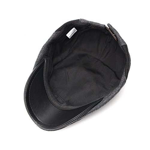 Anshili Hommes bouchon chapeau de béret pour l'hiver (Gris) Gris