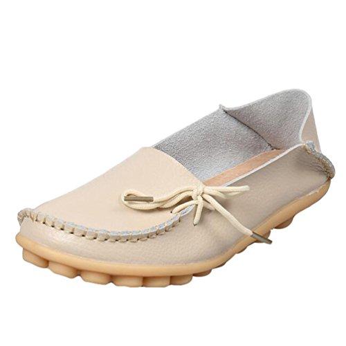 Heheja Damen Freizeit Flache Schuhe Low-top Mokassin Loafers Erbsenschuhe Beige Asia 37 (23.5cm)
