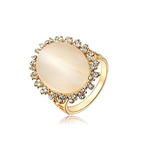 Bling Gioielli Donna Oro Rosa 18ct cristalli pavimentazione con opale ovale anello, 18ct rosa oro, 19,5, colore: platinum & rose gold, cod. 1010035240