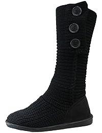 Minetom Mujer Retro Otoño Invierno Botines Tejer de Ganchillo Zapatos Caliente 3 Botones Clásico Cardy Botas