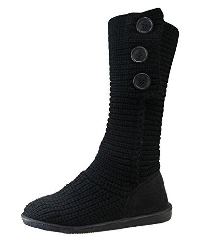 Minetom-Mujer-Retro-Otoo-Invierno-Botines-Tejer-de-Ganchillo-Zapatos-Caliente-3-Botones-Clsico-Cardy-Botas