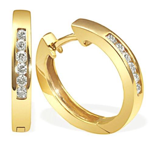 goldmaid Creolen Gelb Gold 585 12 Diamanten Lupenrein 0,25 Karat Memoire Me O054GG Ohrringe Brillanten Schmuck