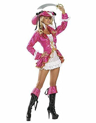 Damen Gute Qualität Reizvolle Rosa Pirat Kostüm and Hut Größe 36-38