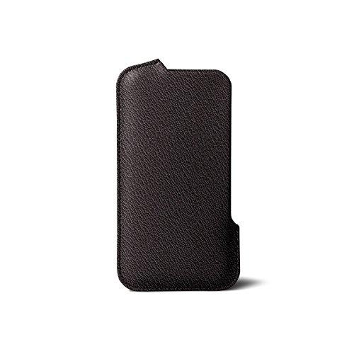 Lucrin - Fourreau iPhone 8 Plus/ 7Plus/ 6 Plus - Bleu ciel - Cuir de Chèvre Marron Foncé