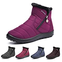 gracosy Womens Snow Boots Winter Waterproof Ankle Boots Ladies Flat Slip On Snowshoe Boots Comfy Fur Lined Warm Ankle Booties Fashion High Top Side Zipper Casual Shoes Outdoor Anti-Slip Walking Boots