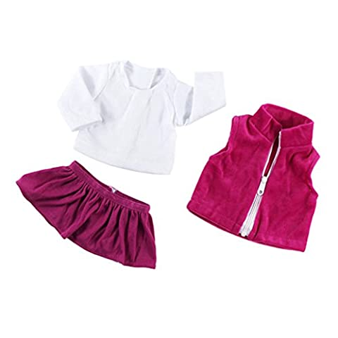 Sharplace 3pcs/ set Fancy Pleated Dress Shirt Coat Clothes for 18'' American Girl Our Generation Doll Princess Outfit