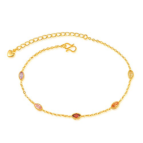 Chaîne de cheville Fate Love avec cristaux de différentes couleurs, pour  femme, plaqué or 18 carats, réglable de 19,8 cm à 24,9 cm