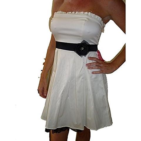 White city Triangle elegante donna abito a tubino cocktail dress Stretch Träger Los bianco 40