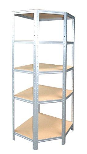 shelfplaza® HOME Eckregal 180x60x30 cm verzinkt mit 5 Böden - für 30er Tiefen - Kellerregal Lagerregal Metallregal Garagenregal Regalsystem Fachbodenregal Werkstattregal Haushaltsregal - Metall-eckregal