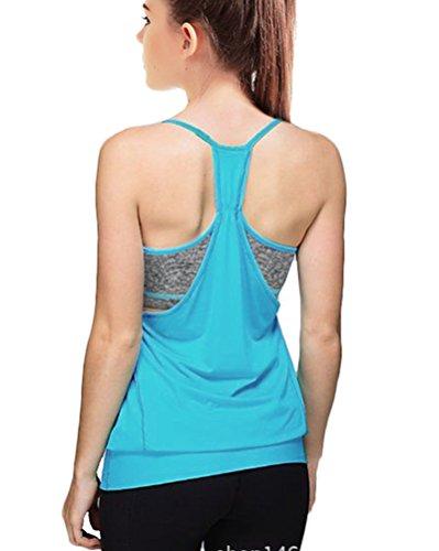 Delle Donne Allentato Palestra Sport Training Vest Running Serbatoio Canotte Palestra Blu