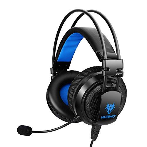 PS4 headsets, NUBWO U5 Stereo Wired PC Gaming Kopfhörer mit Rauschunterdrückungsmikrofon, Over-Ear Gaming Kopfhörer mit In-Line Lautstärkeregler für PC/MAC/PS4/Xbox One/Nintendo Switch/Mobile-Schwarz