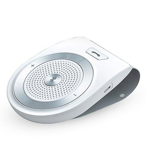 AGPTek-T821-Altavoz-Bluetooth-41-para-coche-con-manos-libres-de-Micrfono-incorporado-para-todo-el-telfono-mvil-con-Bluetooth-Blanco