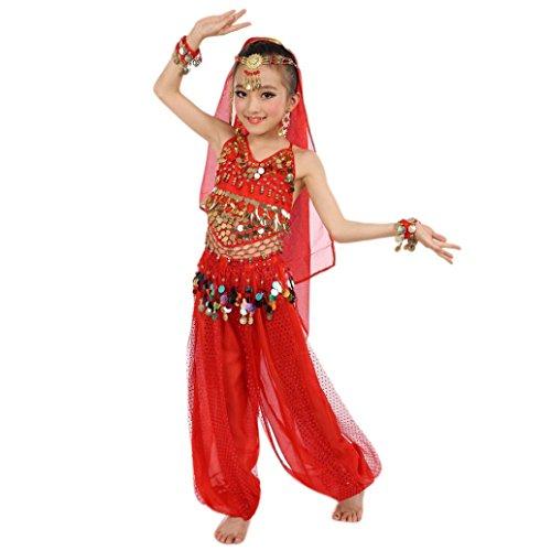 Fasching Mädchen Kostüm, FNKDOR Tüll Kleid Ägypten Bauchtänzerin Pailletten Karneval (Höhe: 146-155CM, Rot)