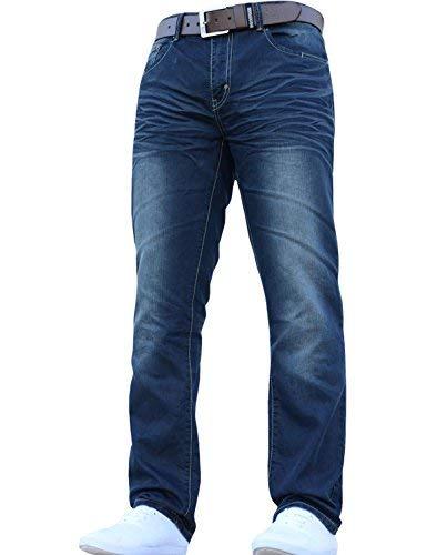 Mens Crosshatch Classic Jeans für Herren, Denim, stilvoll, gerades Bein, normale Passform, alle Taillengrößen, inklusive Gürtel Gr. 32 W / 32 L, Dark Wash