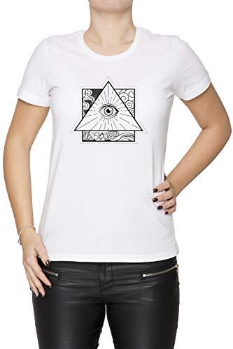 0f9948399 All Seeing Eye - Eye Mujer Camiseta Cuello Redondo Blanco Manga Corta  Tamaño XS Women s White