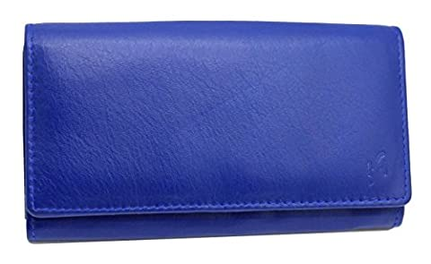 Ladies Luxury Soft Blue Real Nappa Leather Long Flap-over Purse Multi Credit Card Wallet with 2 Inner Zip pocket Gift Boxed By Starhide # 5510