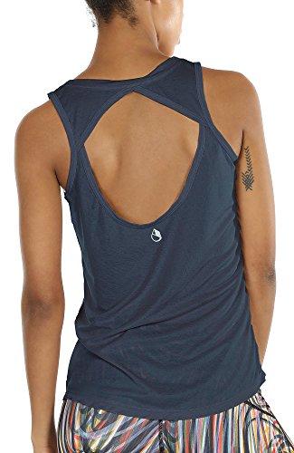 icyzone Damen Yoga Sport Tank Top - Rückenfrei Fitness Shirt Oberteil ärmellos Training Tops (XL, Navy