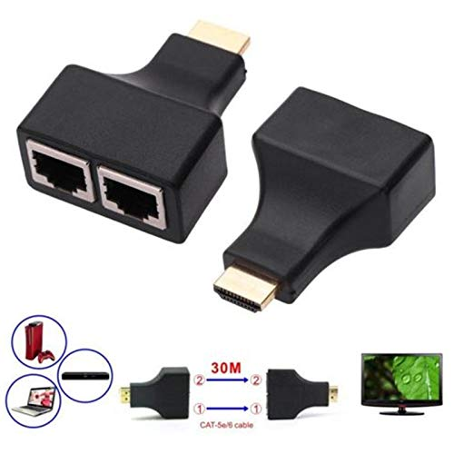 HDMI Extender Konverteradapter, 30 m HDMI auf Dual RJ45 Extender, Single 30 m Ethernet LAN CAT5e/6 Netzwerkkabel, Unterstützung 1080p 3D HDTV PS3 HDPC STB (2 Stück) -