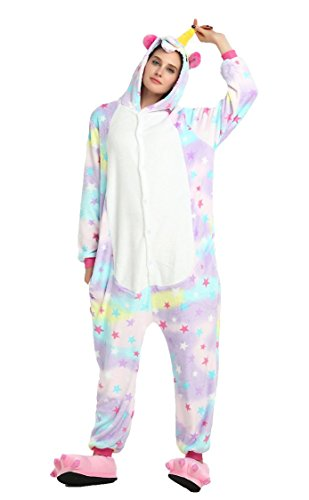 Deguisement Combinaison Pyjama Licorne Adulte Unisexe Unicorne Animaux Anime Cosplay Costume Fleece Kigurumi Onesie Outfit Nuit Vêtements Halloween Noel Party Soirée de Déguisement - Landove