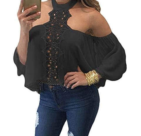 Bling-Bling Black Chocker Neck Bare Shoulders Flare Crop Top(Size,M)