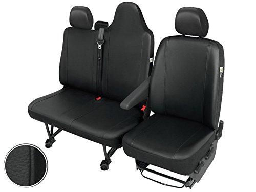 Front Kunstleder Sitzbezüge Sitzschoner Set Fahrersitz Doppelbank (Klappbar) Robust Pflegeleicht -